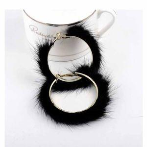 Black Faux Fur Hoop Earrings